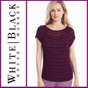 WHBM Top Crochet Sheer Pullover Short Sleeve Boho